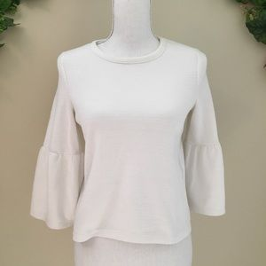 Zara White Bell Sleeve Blouse Size Small S
